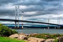 Two Bridges Over Firth Of Forth (Queensferry Crossing And Forth Road Bridge)