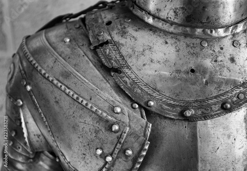 Photo Detail of the upper part of an armor of medieval knight.