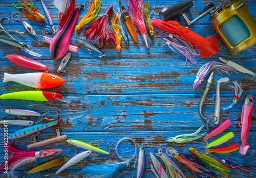 Deurstickers Paradijsvogel Fishing lures tackle collection minnows