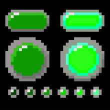 Set Of Green Pixel Button Design. Vector Shapes Isolated On Black Background. Realistic Shade Colors. Pressed, Not Pressed. Vector EPS 10