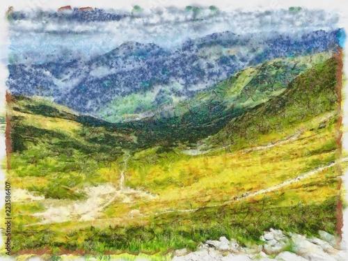 Fotobehang Meloen Oil painting. Art print for wall decor. Acrylic artwork. Big size poster. Watercolor drawing. Modern style fine art. Beautiful mountain landscape. Green valley.