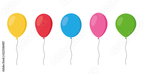 Obraz na plátně Balloons in cartoon flat style isolated set on white background - stock vector