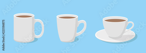 Coffee mug in flat style. A set of three cups - stock vector.