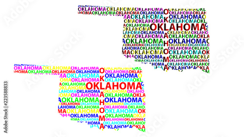 Oklahoma On Map Of United States.Sketch Oklahoma United States Of America Letter Text Map Oklahoma