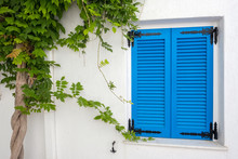 White House Facade With Blue Shutters Naoussa Town, Paros Island, Cyclades, Greece