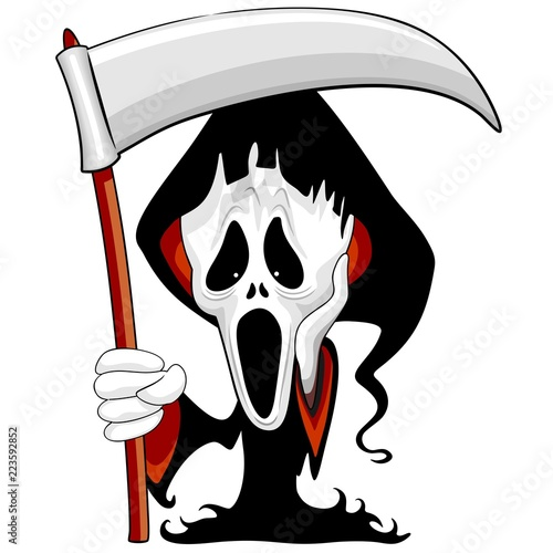 Spoed Foto op Canvas Draw Grim Reaper The Scream Parody Cartoon Character