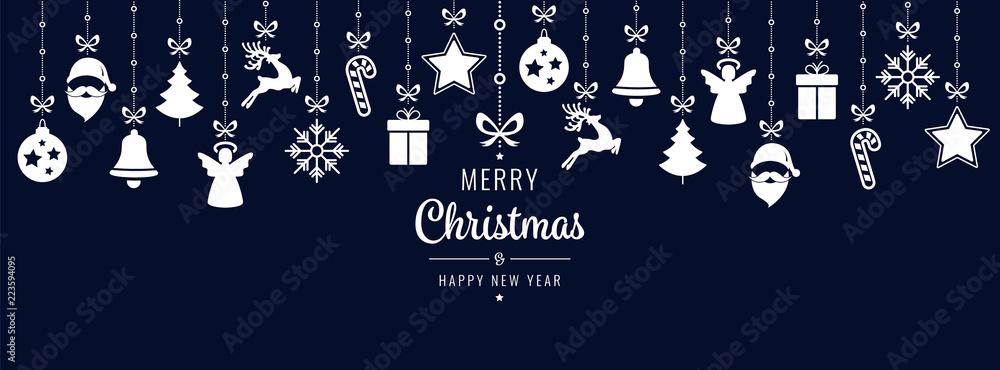 Fototapeta christmas greetings ornament elements hanging blue background