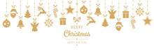 Christmas Greeting Golden Ornament Elements Hanging Isolated Background