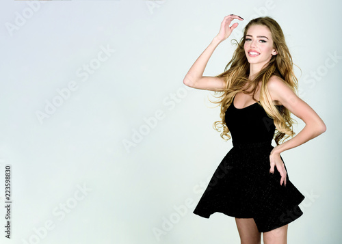 Sexy Woman In Black Dress Beauty Fashion Hairstyle Girl With