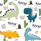Fototapeta Dinusie - childish dinosaur seamless pattern for fashion clothes, fabric, t shirts. hand drawn vector with lettering