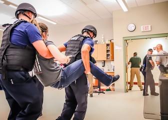 Tactical team training inside a public high school