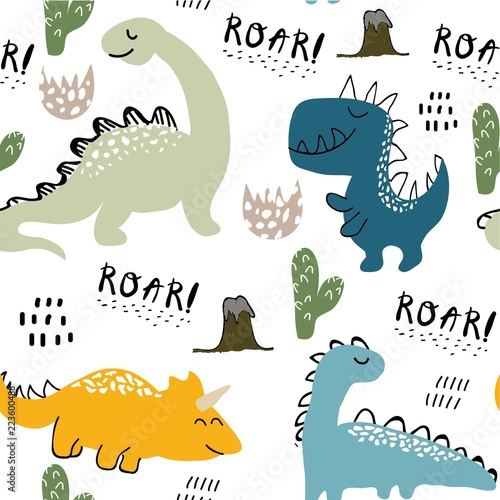 childish dinosaur seamless pattern for fashion clothes, fabric, t shirts Canvas Print