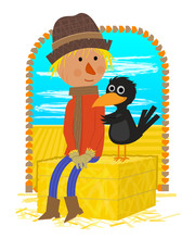 Scarecrow With Friend - Cute Clipart Of A Scarecrow And A Crow Sitting On A Haystack. Eps10