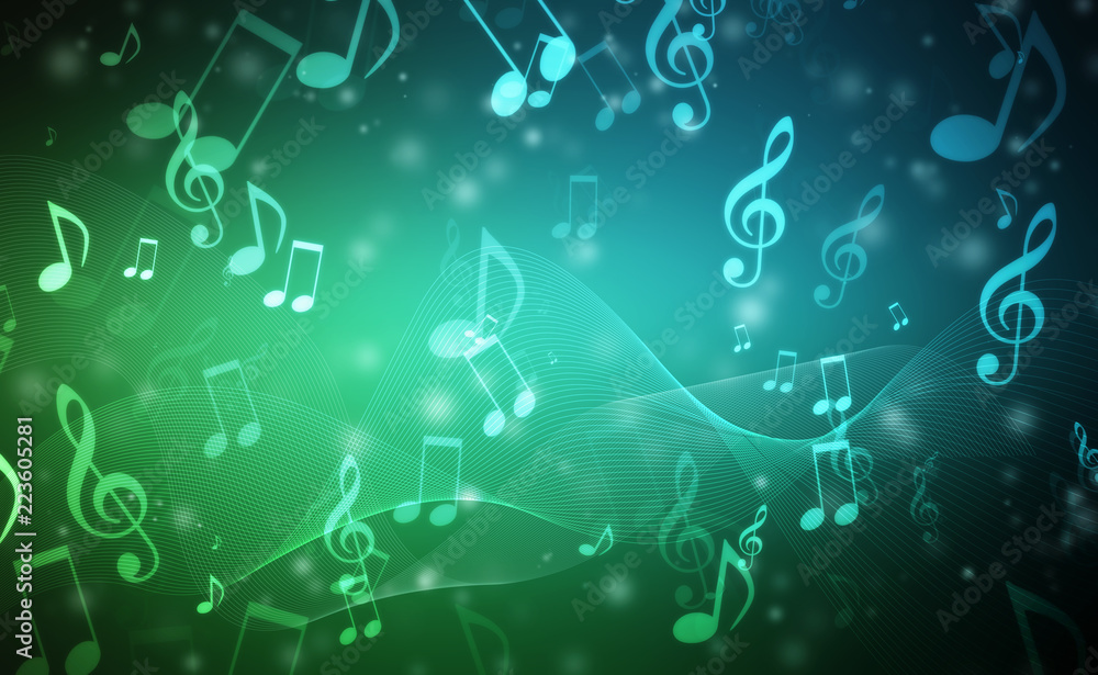 Fototapeta Abstract Colorful music background with notes