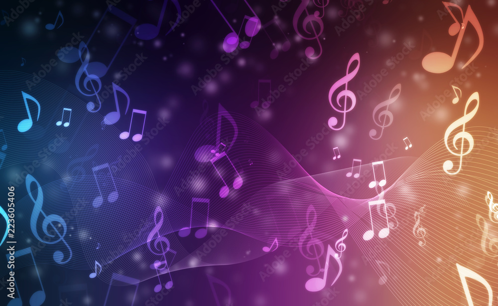 Fototapety, obrazy: Abstract Colorful music background with notes
