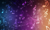 Abstract Colorful music background with notes