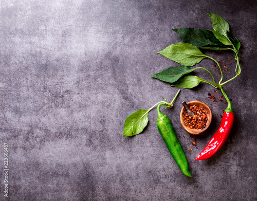 Photo  Red  and Green Hot Pepper of Chile on a dark background