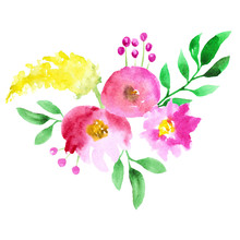 Abstract Watercolor Pink And Yellow Flowers On White Background.
