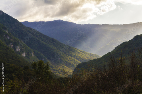 Foto op Plexiglas Grijze traf. Landscape across border between Bosnia and Herzegovina and Montenegro.