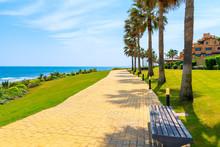 Coastal Path With Palm Trees Along Sea Near Estepona Town On Costa Del Sol, Spain
