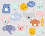 Fototapeta Fototapety na ścianę do pokoju dziecięcego - Set of cute baby shower stickers with cartoon animals and lettering. Vector hand drawn illustration.