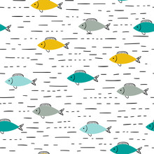 Seamless Vector Blue And Yellow Fish Pattern.