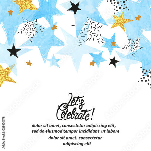 Fototapeta Abstract vector celebration background with blue watercolor stars and place for text. obraz