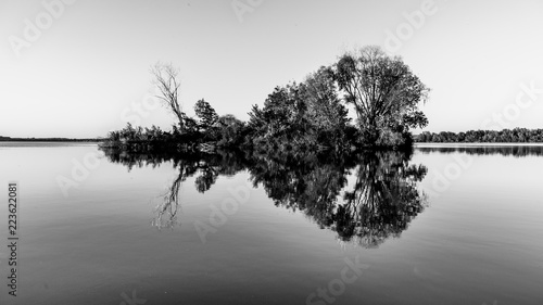 Small island with trees reflected in calm water of Nove Mlyny Dam, Moravia, Czech Republic. Black and white image.