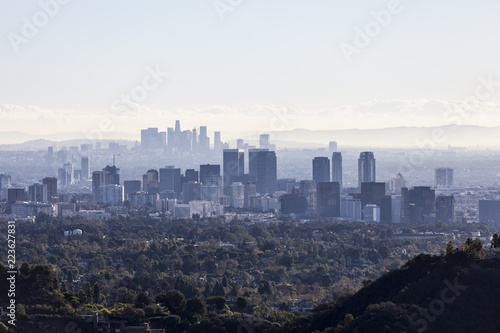 Poster Los Angeles Smoggy hazy morning view of Century City with downtown Los Angeles towers in background.