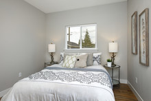 Beautiful Gray And White Bedroom With Embroidery Pattern Bedding Set