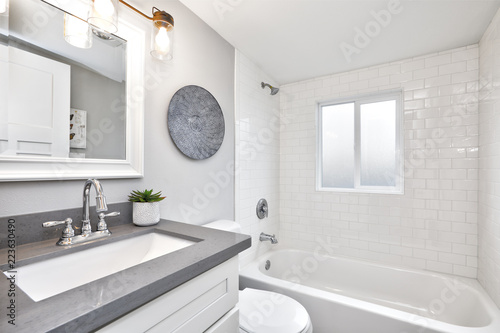 Fotografie, Obraz  Modern bathroom interior with white vanity topped with gray countertop