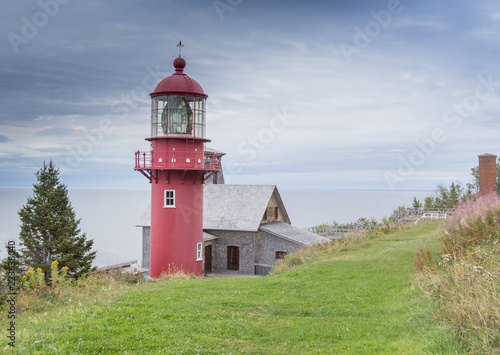 red lighthouse Gaspe Quebec