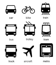 Set Transport Icons On White Background. Vector Elements