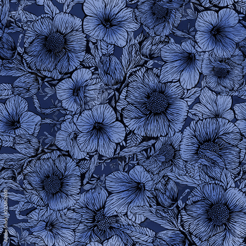 Floral seamless pattern, hand-made design. Ink on paper.