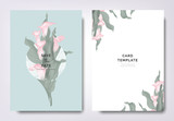 Botanical wedding invitation card template design, pink calla lily flowers and leaves with circle frame on blue background, minimalist vintage style