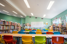 Bright School Classroom With A...