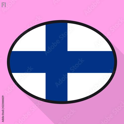 Fotografie, Obraz  Finn flag speech bubble, social media communication sign, flat business oval icon