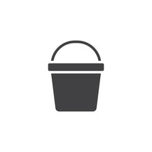 Bucket Vector Icon. Filled Flat Sign For Mobile Concept And Web Design. Pail Solid Icon. Symbol, Logo Illustration. Pixel Perfect Vector Graphics