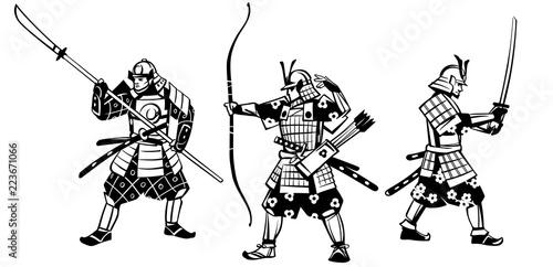 Foto op Plexiglas Art Studio Group of samurai warriors. Hand drawn illustration.Vector set of black figures on a white background.