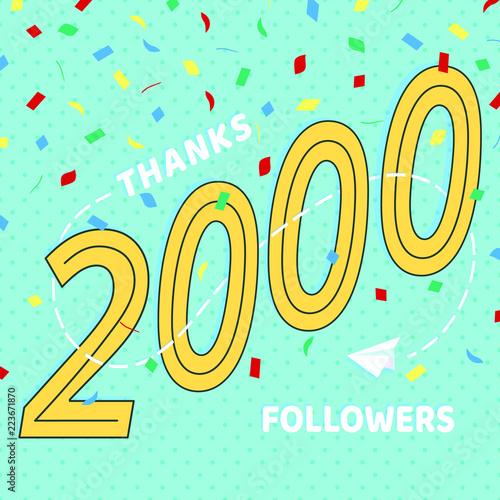 Fotografia  Thank you 2000 followers numbers postcard