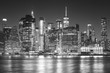 Monochromatic picture of Manhattan skyline at night.