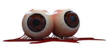 3d Render Halloween Eyes Whit Blood