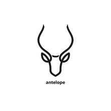 Antelope Head Line Icon. Templ...