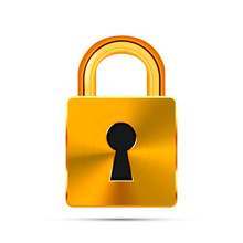 Glossy Golden Realistic Padlock Isolated On White