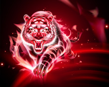 Tiger With Red Burning Flame