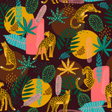 Vestor seamless pattern with leopards and abstract tropical leaves. - 223683867