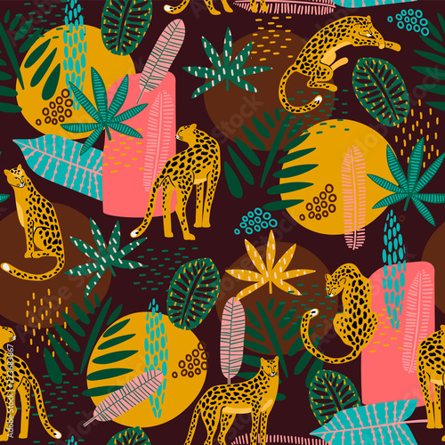 Vestor seamless pattern with leopards and abstract tropical leaves Wallpaper Mural