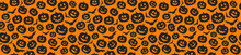 Concept Of Halloween Pattern With Pumpkins. Vector.