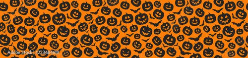 Concept of Halloween pattern with pumpkins. Vector. Wallpaper Mural