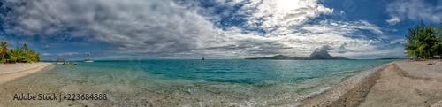 Poster Gris bora bora french polynesia blue lagoon turquoise crystal water
